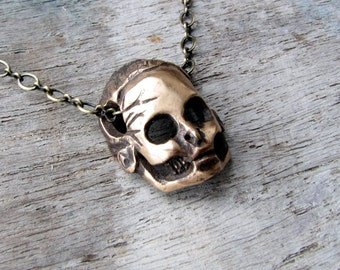 day of the dead  Barbie skull pendant bronze sculpture