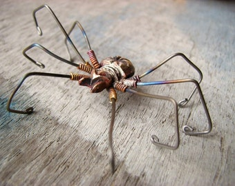 Large spider earring titanium dangle