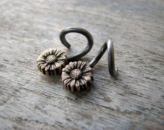 Sunflower hoops 14 gauged earrings