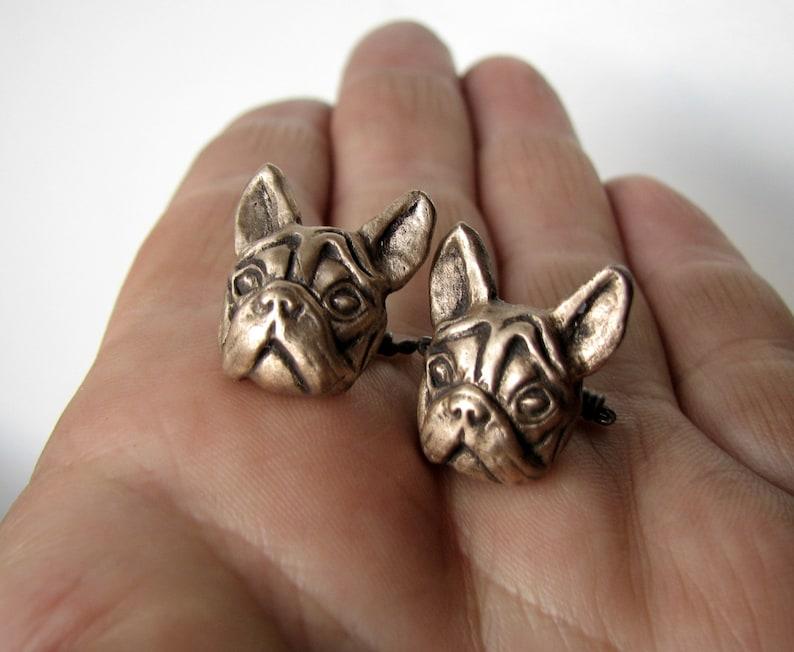 Bulldog dog cuff links simple