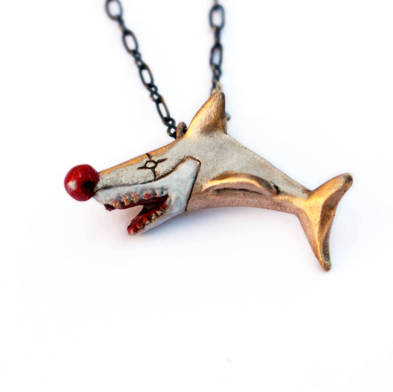 Sharky the clown. Shark disguised as a clownfish pendant image 0