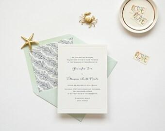 Letterpress Wedding Invitation Sample - The Oahu Collection