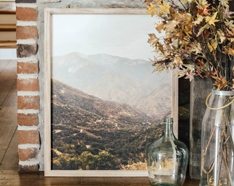Sequoia Mountains Framed Canvas Artwork - Farmhouse Decor - Mountain Art - Cabin Wall Hanging - Photo With Trees