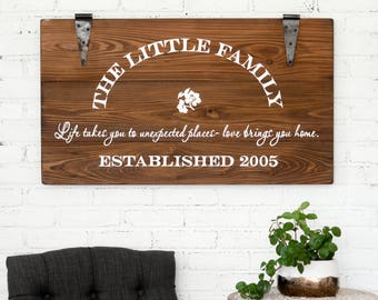 Family Sign Personalized Sign Established Sign Rustic Artwork Wooden Sign Anniversary Gift Wedding Gift Farmhouse Sign Vintage Wood Sign