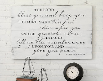 The Lord Bless You - Entryway Sign - Rustic Sign - Christian Wall Decor - Scripture Sign - Housewarming Gift - Farmhouse Sign - Wedding Gift