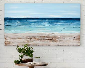 Beach painting on wood nautical decor, ocean painting beach artwork, reclaimed wood beach house art, housewarming gift, coastal seascape