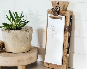 Memo Pad Clipboard Holder - Reclaimed Wood - Hanging Stand - Kitchen Organization - To-Do List - Tablet Clip
