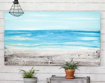 Ocean Beach Painting Reclaimed Wood Beach Decor Rustic Wall Decor Nautical Beach House Artwork Distressed Beach Painting Housewarming Gift