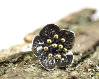 Hellebore Ring - Size 5.5 - Sterling Silver and Brass Plant Jewelry - Botanical Flower Ring - Hellebore Jewelry - Helleborus Jewelry - B