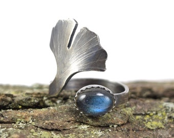 Labradorite Ginkgo Leaf Ring - Size 3-5 - Adjustable Gemstone Ring in Sterling Silver - Botanical Ring - Ginkgo Ring - Ginkgo Jewelry