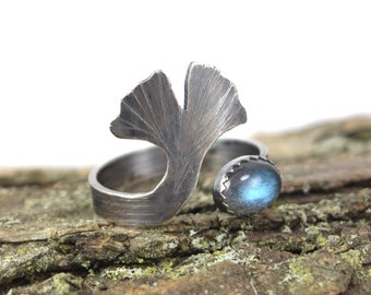 Labradorite Ginkgo Leaf Ring - Size 7-9 - Adjustable Gemstone Ring in Sterling Silver - Botanical Ring - Ginkgo Ring - Ginkgo Jewelry