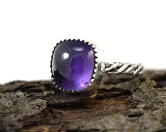 Amethyst Cushion Ring - Size 5 - Square Amethyst Ring - Amethyst Jewelry - Twisted Band Ring - Purple Amethyst Ring - February Birthstone