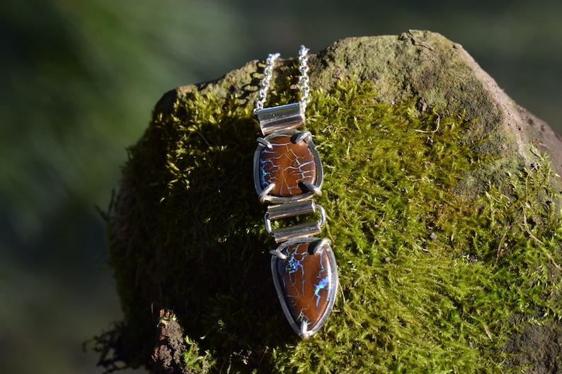 Double Boulder Opal Pendant in Sterling Silver Australian Boulder Opal Jewelry Boulder Matrix Opal Natural Boulder Opal Necklace