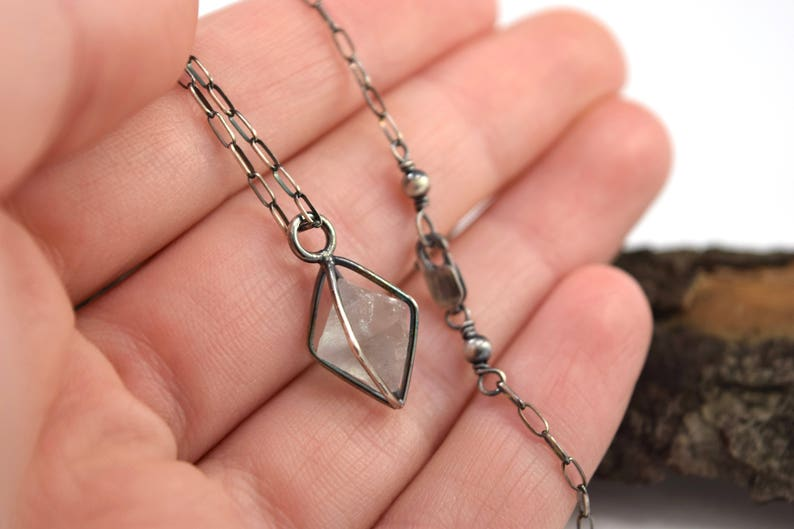 Fluorite Cage Necklace in Sterling Silver