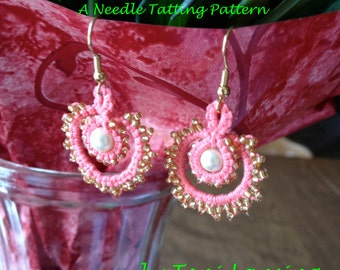 Immediate Download - Needle Tatting Pattern - Pearls and Swirls Tatted Earrings
