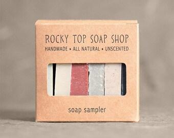 Soap Sampler - All Natural Soap, Soap Box,  Soap Samples, Artisan Soap, Cold Process Soap, Unscented Soap, Vegan Soap, Clay Soap, Mens Gifts