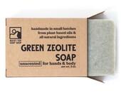 Green Zeolite Soap, Exfoliating Soap, Scrub Soap, Body Scrub, Vegan Soap, Handmade Soap, Unscented Soap, Mens Soap
