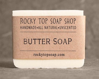 Butter soap -  Facial Soap, Unscented Soap, Handmade Soap, Cold Process Soap, Vegan Soap, Natural Soap, Artisan Soap, Gift for Her