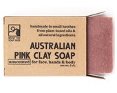 Australian Pink Clay,  Pink Clay Soap, All Natural Soap, Facial Soap, Unscented Soap, Sensitive Skin Soap, Vegan Soap, Gift for Her