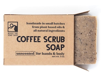 Coffee Scrub, Coffee Soap, Mens Soap, Hand Scrub, Exfoliating Scrub, Kitchen Soap, Natural Soap, Handmade Soap, Unscented Soap, Vegan Soap