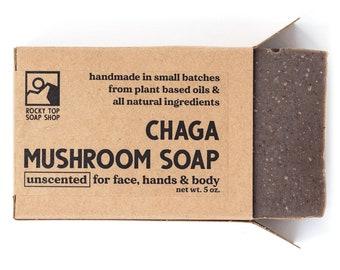 Chaga Mushroom Soap,  All Natural Soap, Handmade Soap, Unscented Soap, Cold Process Soap, Vegan Soap, Mens Soap, Herbal Soap,