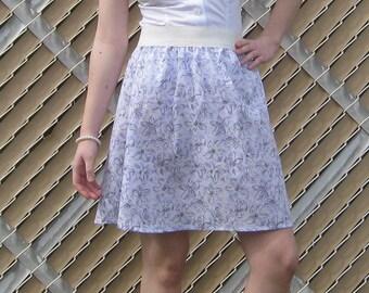 Purple Floral Elastic Waistband Skirt