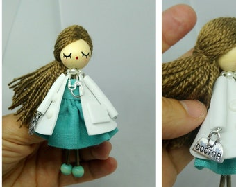 Doctor brooch - brooch - doctor doll - classical doctor- gift for doctor -  doctor pin fe87f6384a