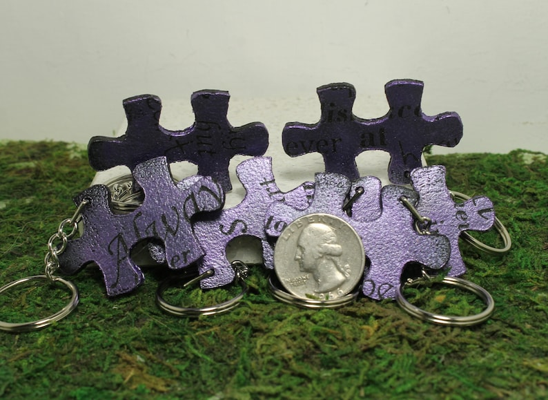 Set of 6 leather  puzzle piece key chains Always together Quote