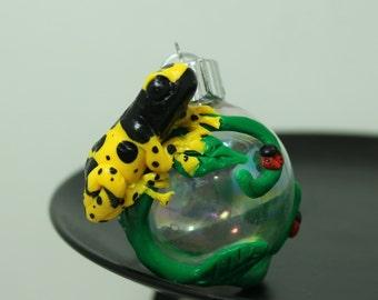 Leucomelas Poison Dart Frog Mini Christmas ornament Made To Order