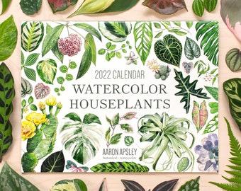 2022 Watercolor Houseplants Wall Calendar • 12 Month Calendar • Botanical Illustration