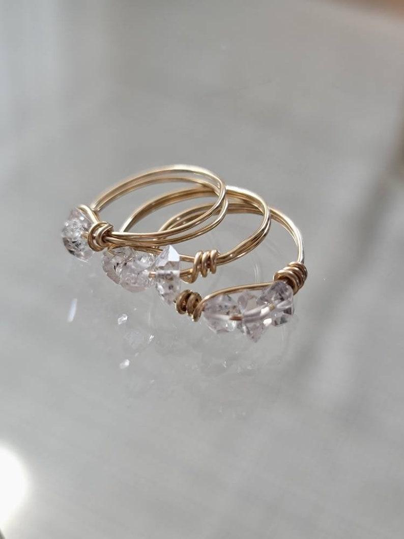 Modern Minimalist 14k Gold Filled Herkimer Diamond Ring-Herkimer Diamond Ring Gifts For Her Modern Gold Filled Layering Ring