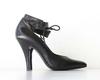 RESERVE-Vintage Black Italian Leather Heels