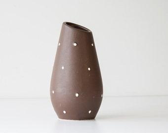 Mid Century Modern USA California Pottery Vase - Chocolate Brown