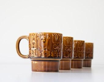 Vintage Mid Century Stackable Mug Set