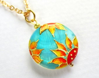 Sunflower Necklace Sunflower Jewelry Sunflower Pendant Floral Jewelry Sunflower Wedding Turquoise Jewelry Sunflower Bridesmaid Gift