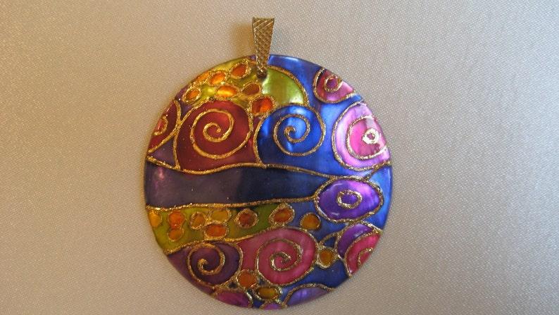 Klimt Necklace Handpainted Art Nouveau Necklace Purple Necklace Klimt Pendant Klimt Jewelry Handpainted Klimt Lover Gift Art Nouveau jewelry