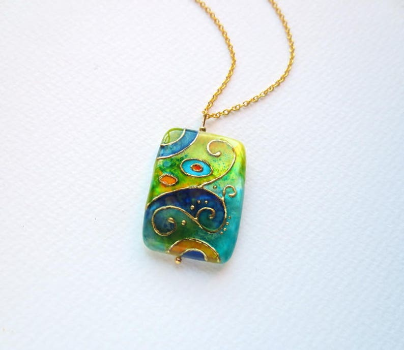 Statement Necklace Painted by Hand Klimt Necklace Unique Christmas Gift for her Turquoise Necklace Art Nouveau Jewelry Klimt Unique Gifts