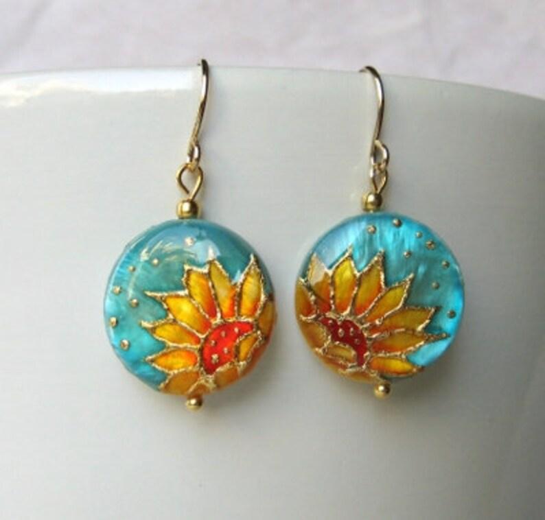 Sunflower Necklace handpainted Sunflower bridesmaid gift Sunflower wedding Floral Jewelry Sunflower pendant Jewelry Sunflower bride