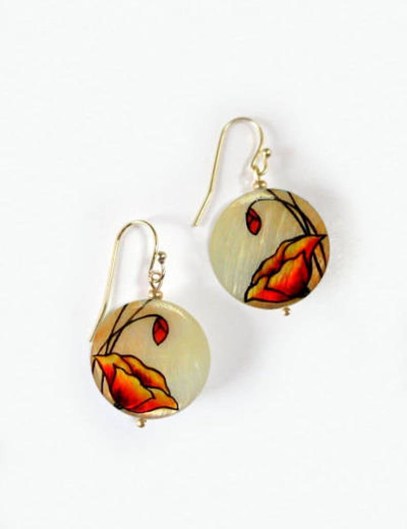 Red Poppy earrings Poppy flower earrings Mothers Day gift Poppy dangle earrings Unique Gifts for Her Gift for mom sister gift for girlfriend