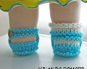 PATTERN Knitting Mary Jane Shoe - Bamboletta Clothes - Waldorf Doll Pattern