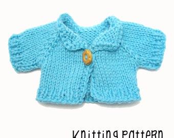 PATTERN Knitting Long Sleeve Cardigan - Waldorf Doll Pattern