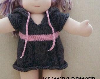 PATTERN Knitting Hoodie Sweater Dress - Bamboletta - Waldorf Doll Pattern
