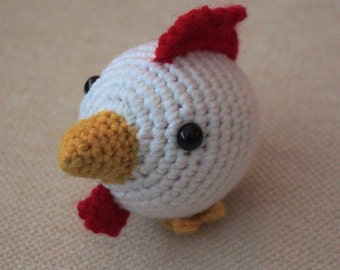 Rooster Chinese Zodiac Amigurumi -READY TO SHIP - Montessori - toy - white - red