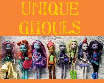Unique Ghouls Dressed MH Monster High Dolls for OOAK Doll/ Silvi/ Catrine/ Gilda/ Kiyomi / Twyla / Repaint / One Doll / 1 Doll / You Choose