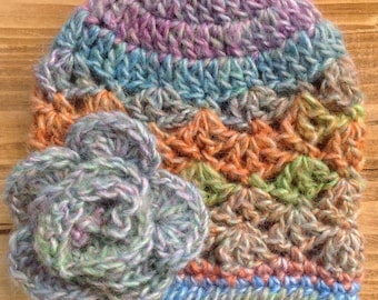 Crochet Baby Hat, Newborn Girl Hat, Rainbow Hat, Baby Girl Hat, Carnival, Infant Girl Hat, Baby Girl Beanie, Photo Prop, **Ready to Ship