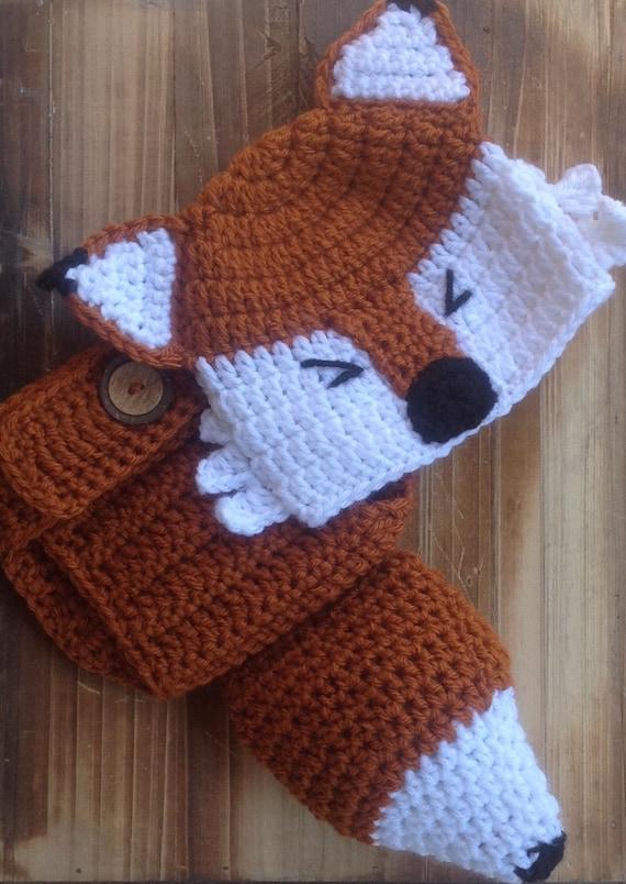 Häkeln Sie Babymütze Und überhose Fuchshut Fuchs Kostüm Etsy