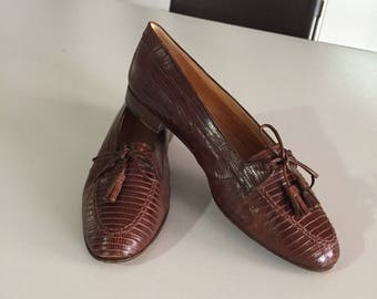 86cc32874f6 Ralph Lauren Vintage Brown Lizard Leather Dress Loafers Tassel Leather  Loafers c.1990s By Gatormom13
