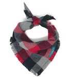 To the Mountains Flannel Dog Bandana, Red Black and Gray Dog Bandana, Flannel Dog Bandana, Frayed Edge Dog Bandana, Dog Bandana