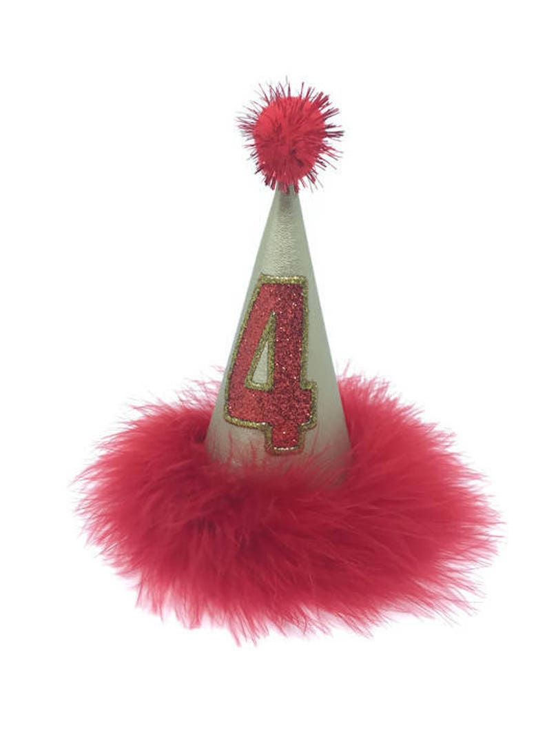 Birthday Party Hat For Dogs Cat Red And Gold