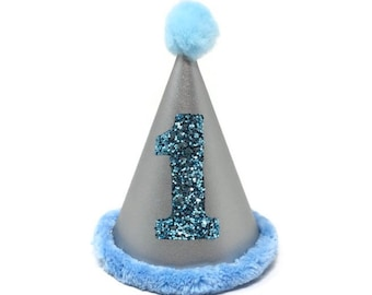 Blue and Metallic Silver Birthday Hat with Blue Number, Silver Hat, Boy Dog First Birthday Hat, Dog Birthday Hat, Cat Birthday Hat